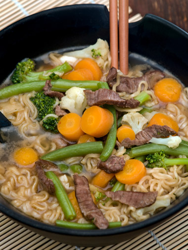 Spiced Beef Noodle Soup with Poached Eggs and Broccoli